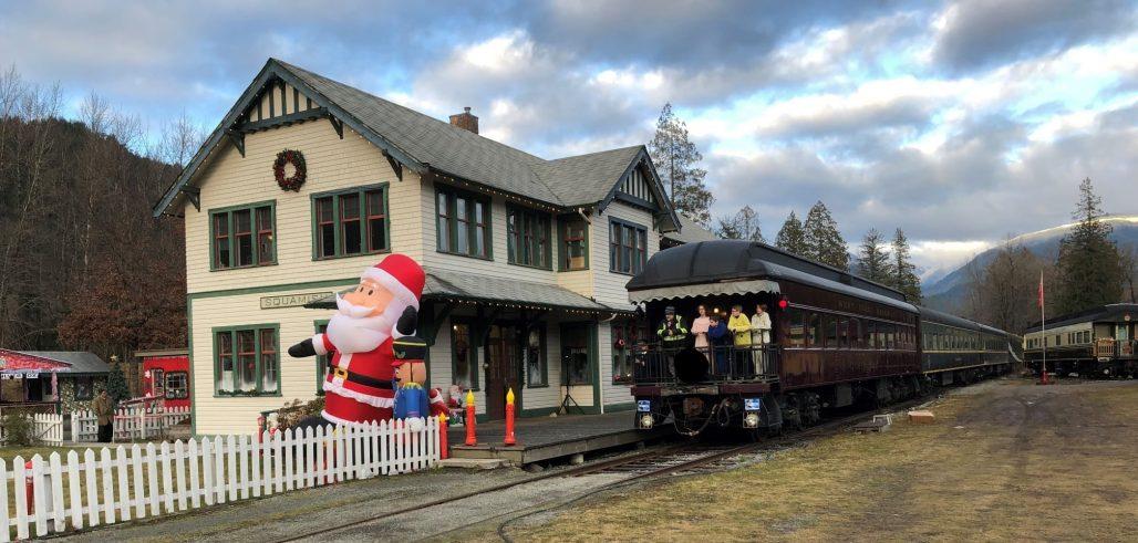North Pole Express arriving back at Squamish Station.